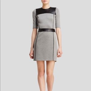 Theory Calvino Knit Leather Short Sleeve Dress 6